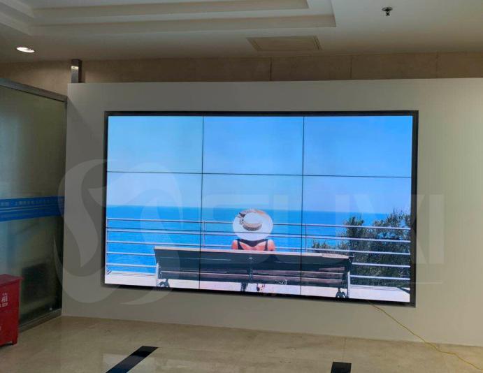 上海中科院公司前台形象墙3*3液晶拼接屏