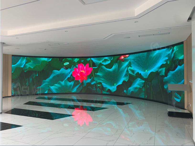 室内可视化展厅LED全彩显示屏曲面大屏